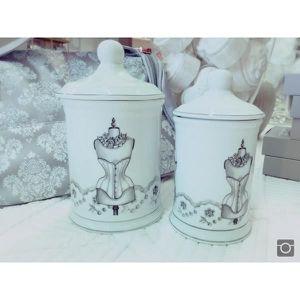 COTON DÉMAQUILLANT Set 2 pots à coton, boudoir Mathilde M