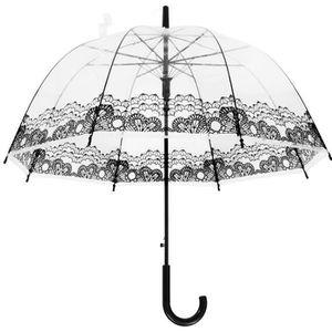 Le Monde du Parapluie Parapluie Canne Cloche Automatique avec Le Bord Multicolore 90 cm Transparent