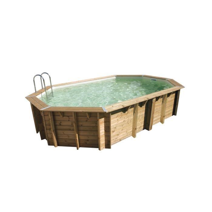 Ubbink Piscine Bois Ocea 400x610 H130cm Liner Beige Hors Sol