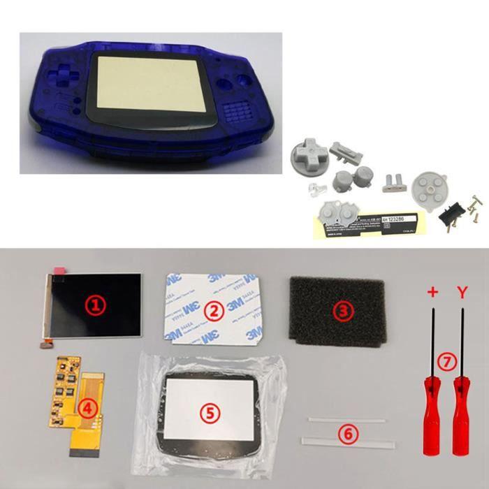Kits d'écran LCD IPS V2 Boutons de boîtier de boîtier de coque prédécoupés pour console GBA Game Boy Advance Bleu transparent