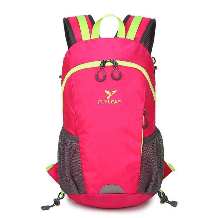 FlyLeaf Camping Backpack - Sac à dos en nylon pour sports de plein air 20-35L - Rouge