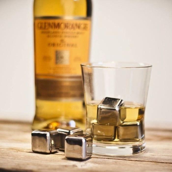 Minch 4pcs Refroidissement Whisky Stones-Glaçons en acier inoxydable réutilisables