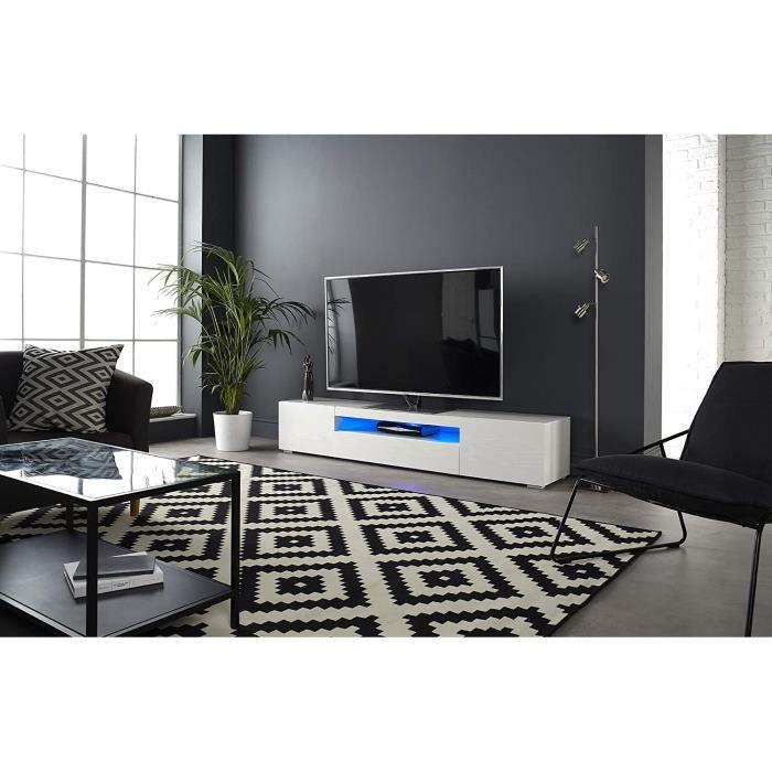 MMT DAIQ2000 Meuble TV pour TV 4K 65-70-75-80- avec lumières LED 200 cm de Large Blanc81