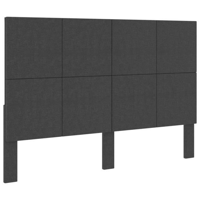 🐻4423Magnifique Confort - Tête de lit Gris foncé Tissu 160x200 cm