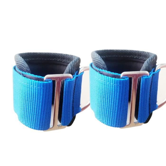 2 pièces sangle de cheville réglable entraînement bleu de poignet de de gymnastique durable pour BARRE - HALTERE - POIDS