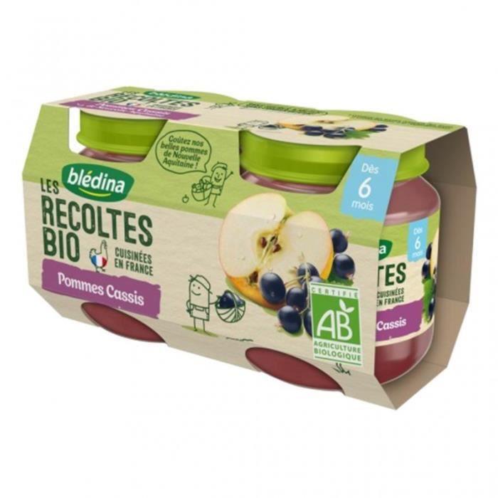 Blédina Les Récoltes Bio Pommes Cassis (dès 6 mois) par 2 pots de 130g (lot de 8)