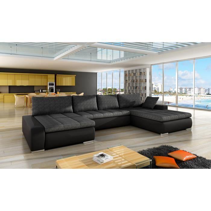 Canapé d'angle droit panoramique et convertible en tissu et simili gris foncé
