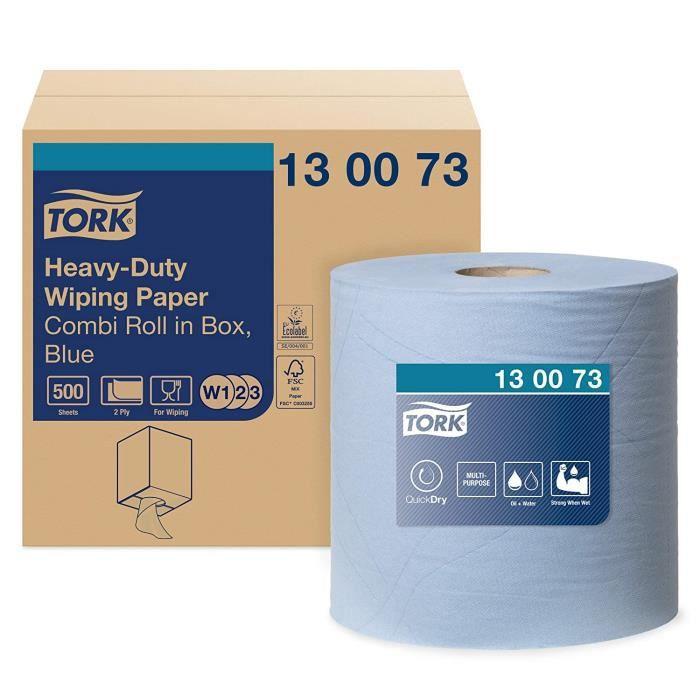 130073 Papier d'essuyage multi-usages Premium, compatible avec les systèmes W1 et W2 - 2 plis - 170m x 25,8cm - 1 bobine - Bleu