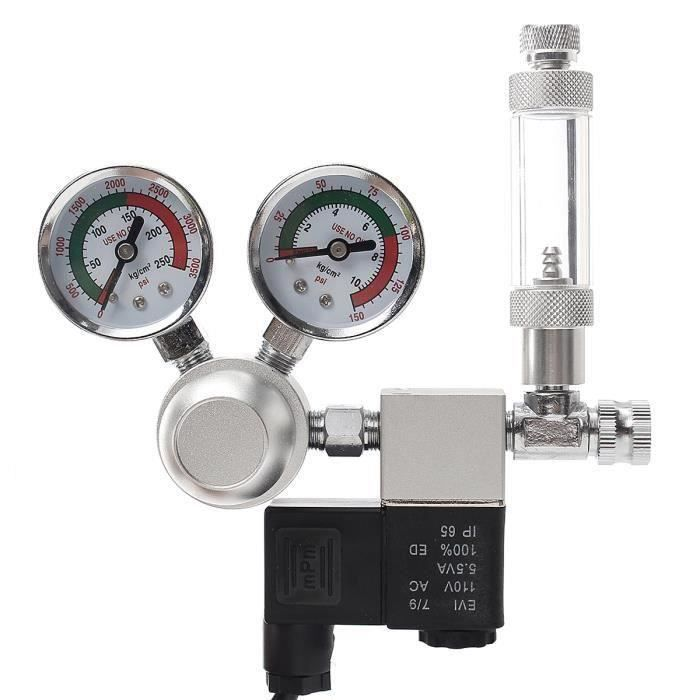 Aquarium Régulateur CO2 Système Pression Compteur de Bulle Double Jauge Solénoïde Électrovanne 220V PRISE EU Ve31663