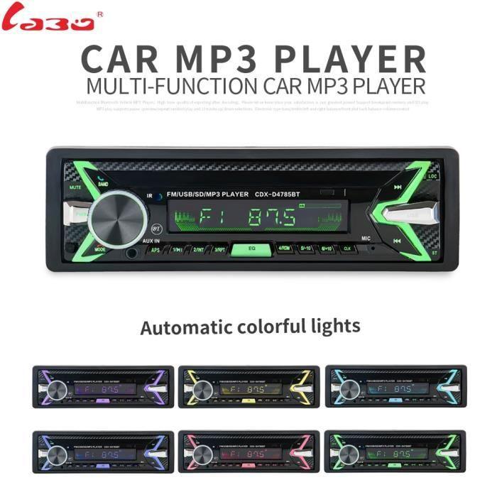 Bluetooth amovible panneau amovible Autoradio Bluetooth Autoradio Auto FM RDS stéréo lecteur Audio USB SD ISO 7 couleurs éclairage