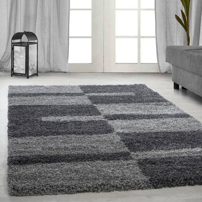 tapis Shaggy Shaggy gris rayé vert rouge tapis beige de salon [gris, 160x230 cm]