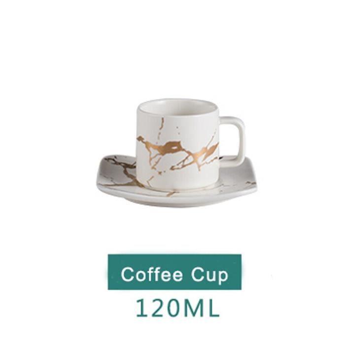 Service À Thé - Café,Marbre céramique tasse à café soucoupe cuillère ensemble 370ml nordique - Type 120ml White