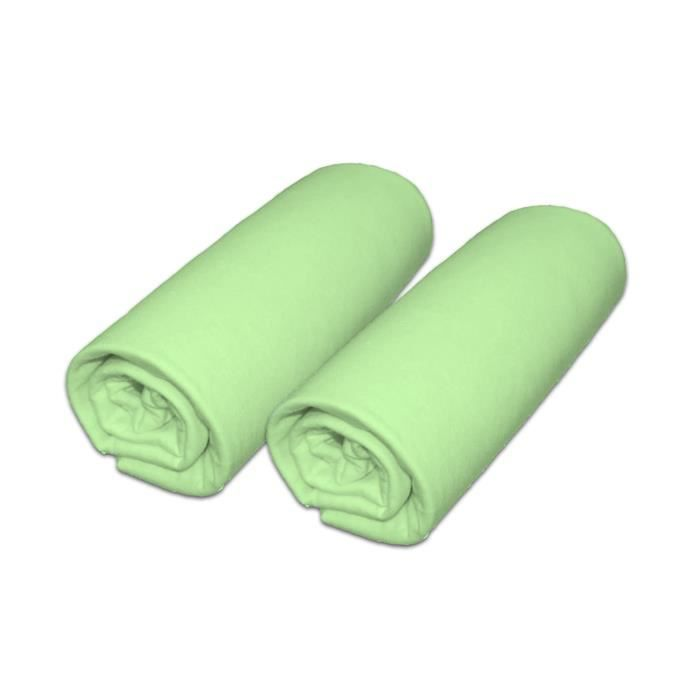 Lot de 2 draps housse pour matelas 70x140cm (lit bébé évolutif) coloris vert
