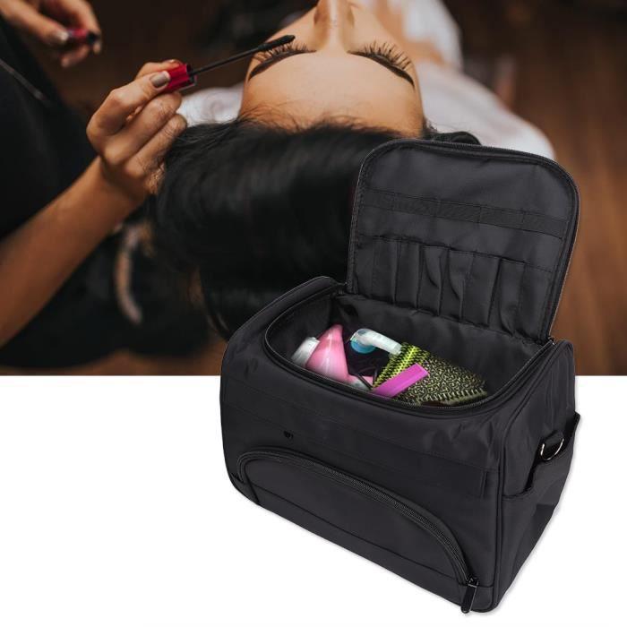Sac de rangement pour outil de coiffure, sac de transport pour outil de coiffure professionnel, noir multi-poches, sac de transport