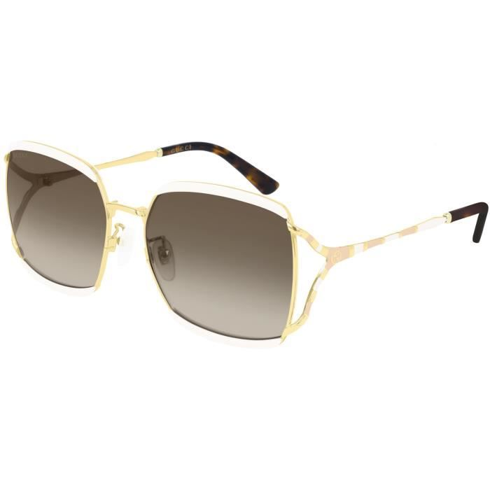 Gucci GG0593SK 59/17/135 WHITE GOLD/BROWN SHADED injecté femme GG0593SK
