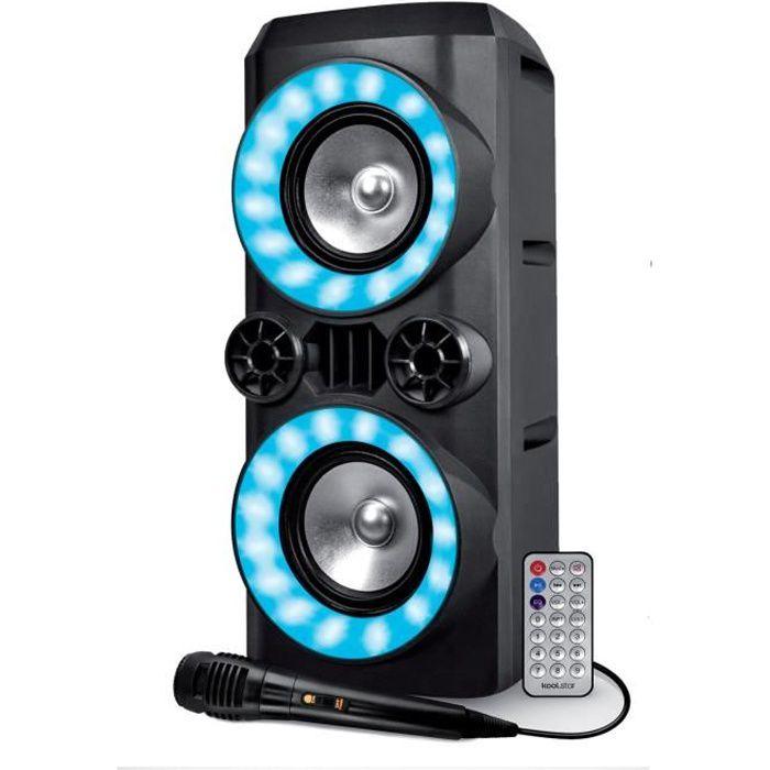 Enceinte Autonome sur Batterie - Koolstar CREED266 - 300W - USB SD Bluetooth - Micro filaire - 2x Boomer 16cm à LED RVB