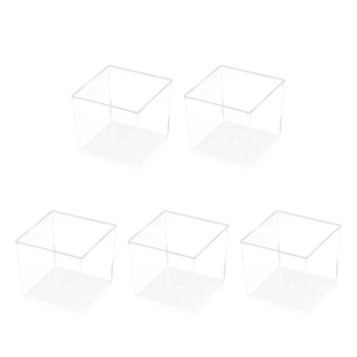 50 PCS 150 Mousse Tasse En Plastique Dur Dessert Parfait Apéritif Bol Carré Jetable PS Gelée Conteneur pour la Fête CASQUETTE