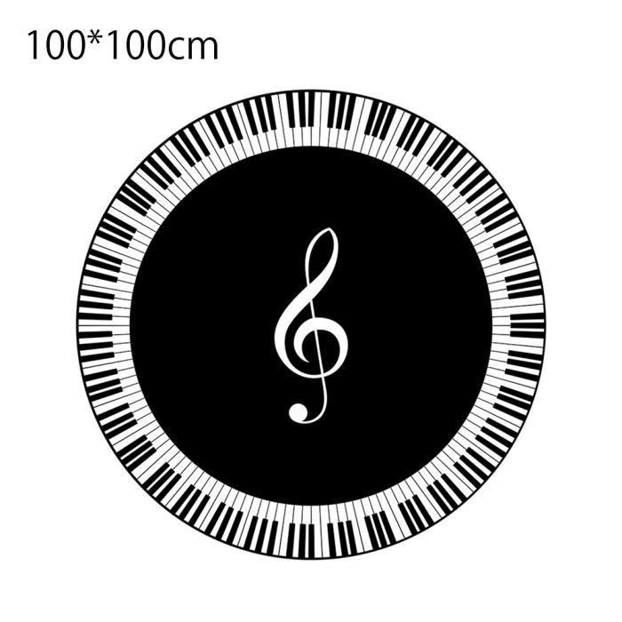 SURENHAP - Tapis imprimés à surface ronde - Note de musique Clé de piano blanc noir - 100 * 100cm, JJ015416342_2/fdrgh