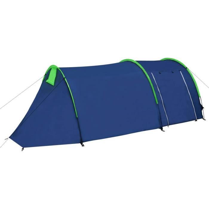 Tente de camping 4 Personnes Bleu marin/vert