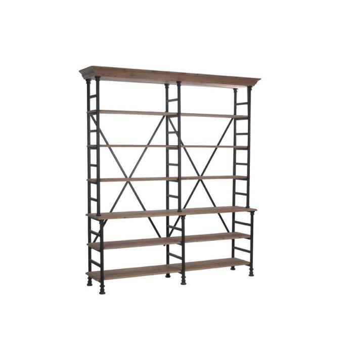 biblioth que industrielle bois et m tal grand m achat. Black Bedroom Furniture Sets. Home Design Ideas