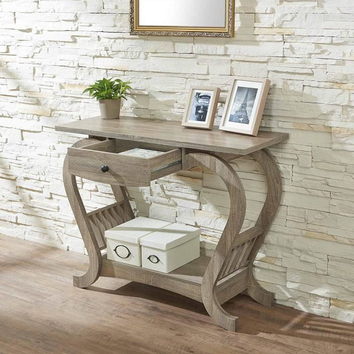 Console Moderne Forme De Coeur 1 Tiroir Table Console En