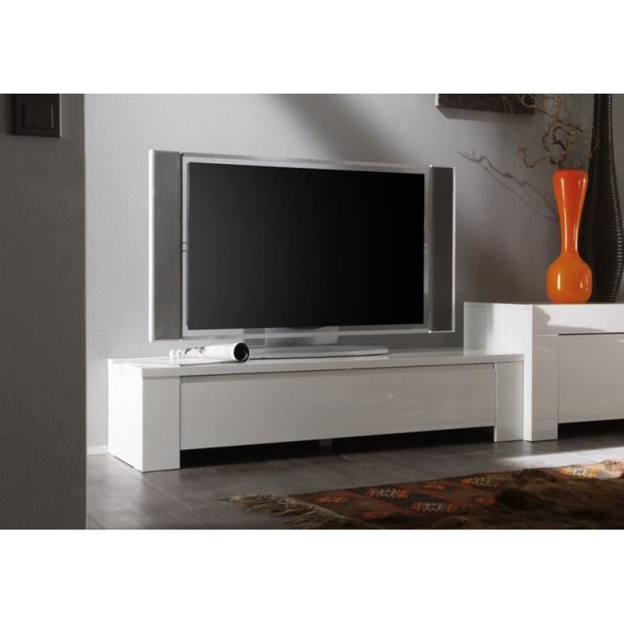 meuble tv laqu 120 cm panamera couleur blanc achat. Black Bedroom Furniture Sets. Home Design Ideas