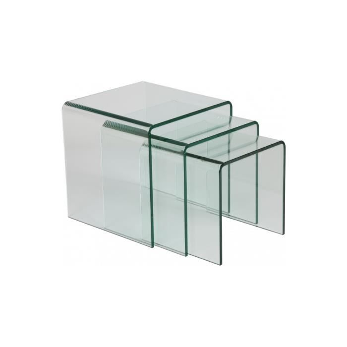 Tables gigognes verre courb achat vente table basse for Table de television en verre