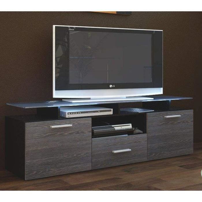 meuble tv 146x46x35 noir et bois weng achat vente. Black Bedroom Furniture Sets. Home Design Ideas