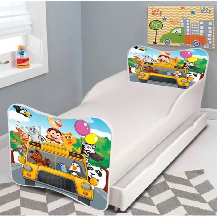 lit gigogne enfant zoo bus sommier matelas 140x70cm achat vente lit complet lit gigogne. Black Bedroom Furniture Sets. Home Design Ideas