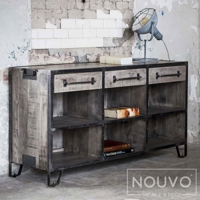 bahut metal industriel achat vente pas cher. Black Bedroom Furniture Sets. Home Design Ideas
