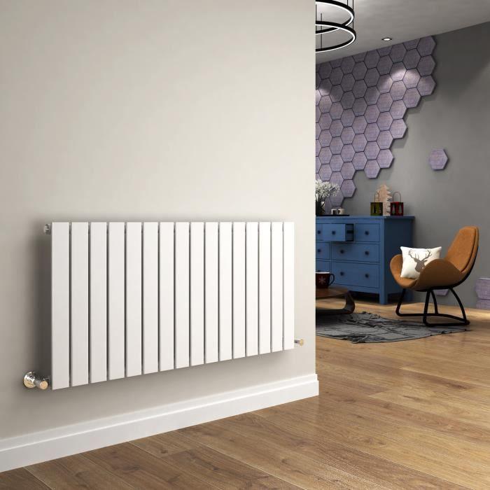 Radiateur de Chauffage Horizontal, Radiateur à Eau Chaude en Acier Blanc,  Sèche-serviettes Mural pour Système -60x120cm