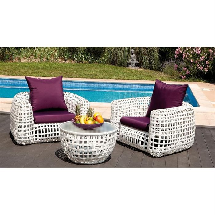 Salon de jardin deco blanc 2 places achat vente salon for Salon de jardin blanc