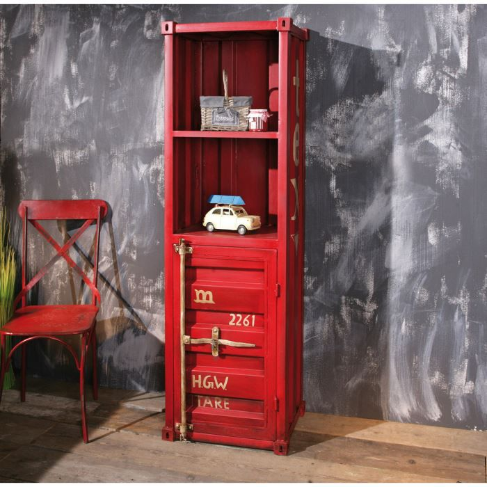 miliboo tag re industrielle m tal rouge cargo achat vente meuble tag re miliboo. Black Bedroom Furniture Sets. Home Design Ideas
