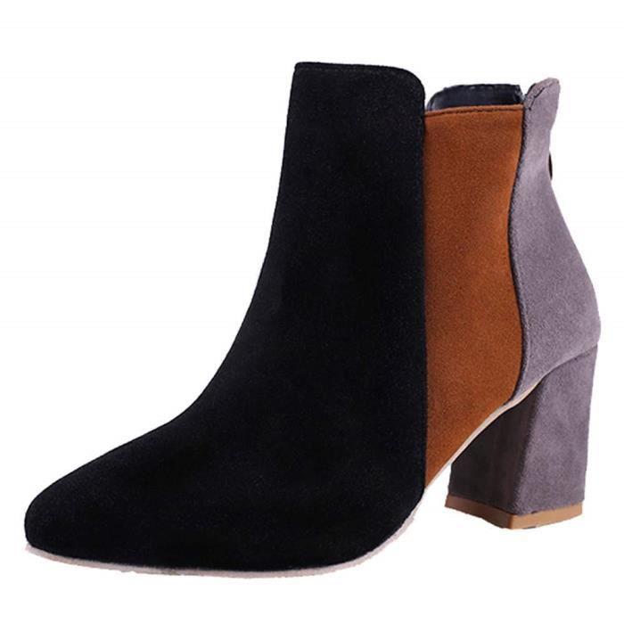 À Blanche Hauts Femme Couleur Chaussures De Noires Femme Talon Range Boots Talons Botte Magiques roamer Bottines NwnPymOv80