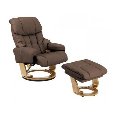 fauteuil de relaxation inclinable cuir marron a achat vente fauteuil cuir cdiscount. Black Bedroom Furniture Sets. Home Design Ideas