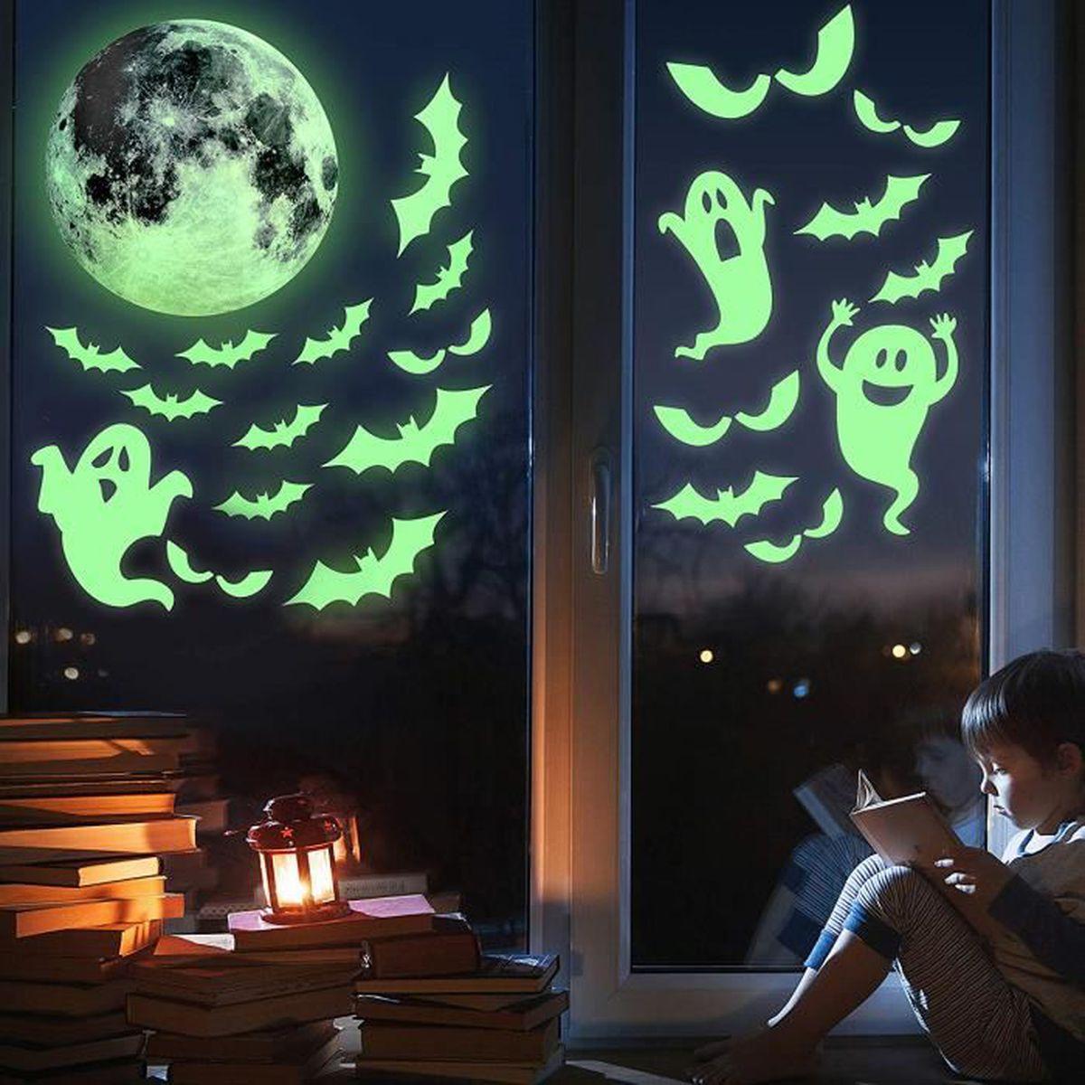 Stickers Pour Fenetre Chambre autocollant fluorescent halloween sticker lumineuse en pvc