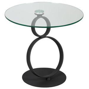 TABLE D'APPOINT Victorina - Guéridon Rond Plateau Aspect Céramique