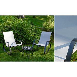 SALON DE JARDIN  Fauteuils   à bascule gris clair + table basse