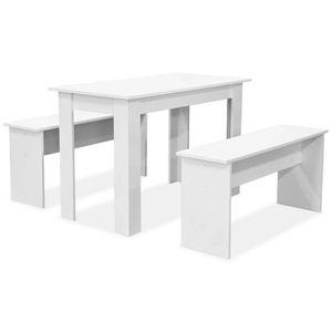 TABLE À MANGER COMPLÈTE Ensemble Salle à Manger Moderne 1 Table et 2 Bancs