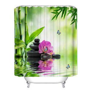 RIDEAU DE DOUCHE Rideau de douche ZEN l'eau bambous pierres fleur p