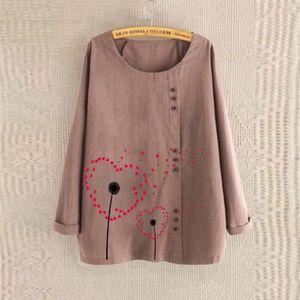 T-SHIRT Plus Size femmes manches longues en coton lin O-Ne