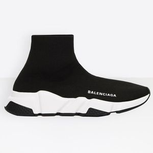DERBY Baskets BALENCIAGA Speed Trainer Runner Noir Blanc