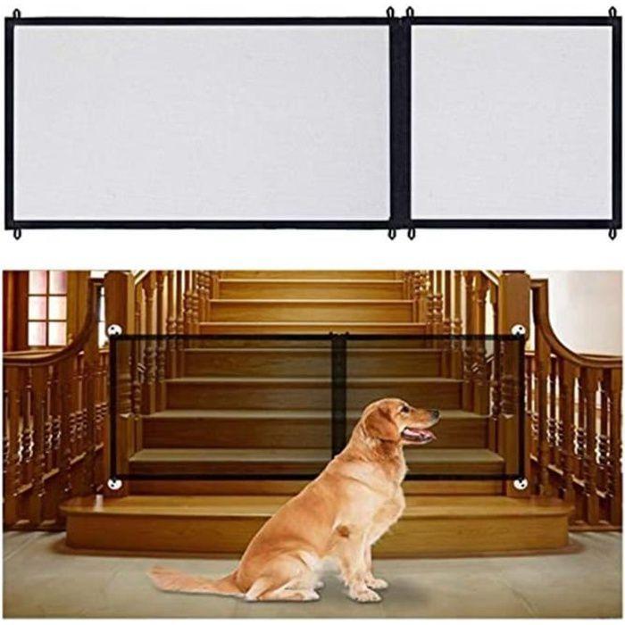 Barrière de Sécurité Chien, Domestique pour Escalier Cuisine Portable Pliable Installer n'importe Où,Noir (180 x 72cm)