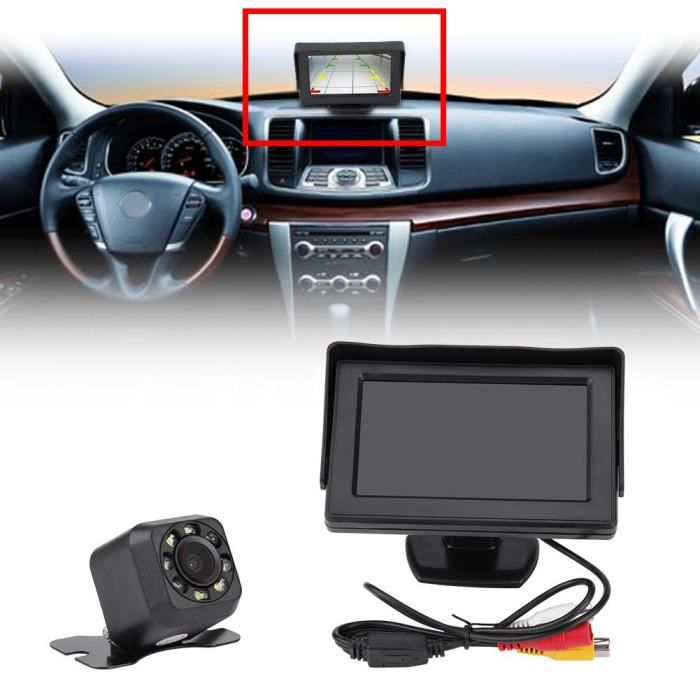 4.3 pouces LCD Moniteur + Caméra de recul Sans Fil Infrarouge Vision Nocturne Sauvegarde aide à la conduite recul