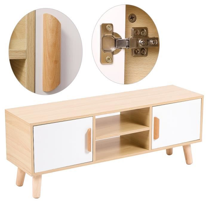 WISS Meuble TV - Table pour Salon Moderne avec 2 Portes et 2 niches Jaune-blanc 110 cm