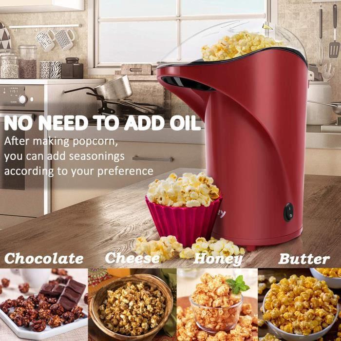 Vsadey Machine à Pop-corn Eléctrique, Appareil à Popcorn sans Huile ni Graisse avec une Tasse à Mesurer Grande Capacité pour Famille