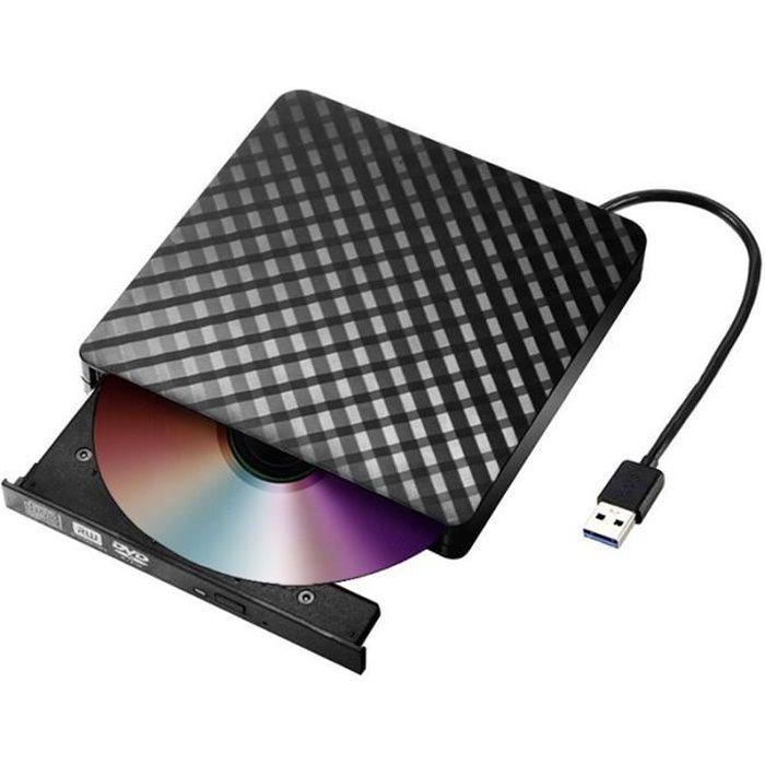 Graveur Lecteur de DVD externe USB 3.0 haute vitesse Lecteur de CD-DVD-RW Noir