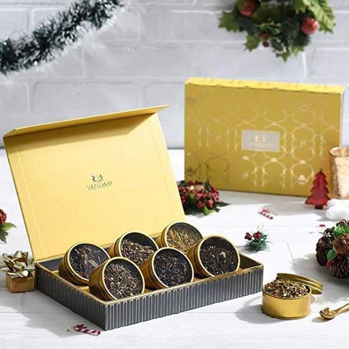 VAHDAM, Coffret Thé assorti - 6 THÉS - Boîte de luxe - Meilleurs cadeaux de Noël- Thé noir, thé vert, tisane, thé chai -