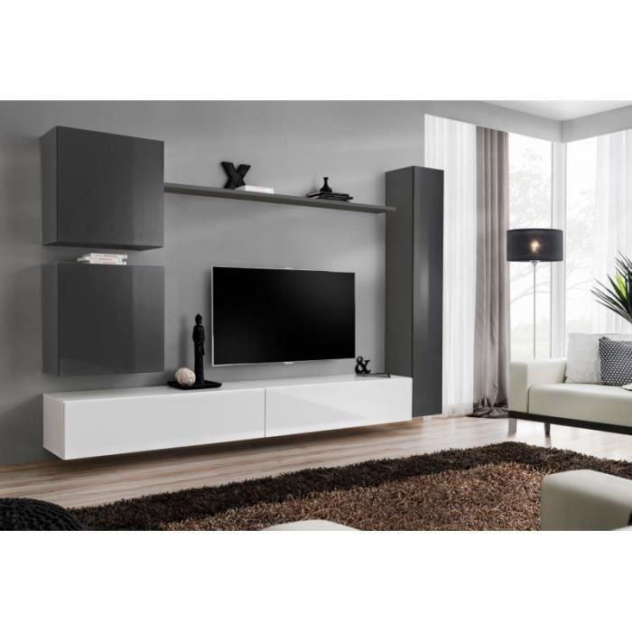 Ensemble de meuble pour salon mural SWITCH VIII. Meuble TV mural design, coloris blanc et gris brillant.