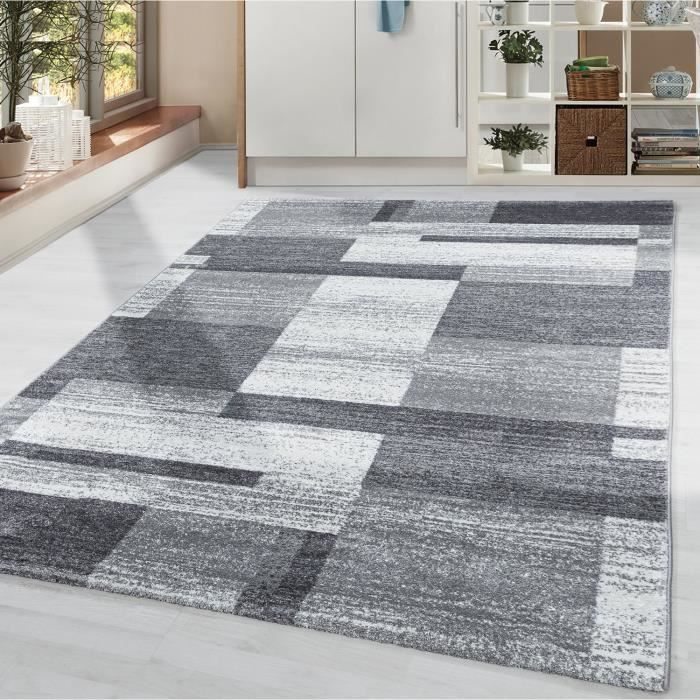 Tapis salon à poils courts motif moderne à carreaux gris blanc à poils doux [Argent, 60x110 cm]